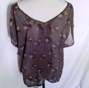 torrid Tops - Torrid dark brown pink floral sheer layer blouse